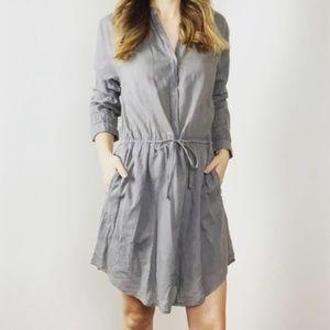 Sundry Gray Button Down Shirt Dress